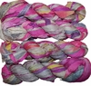 100g Sari SILK Ribbon Art Yarn Silver Pink