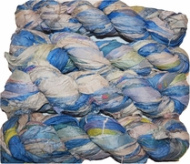 100g Sari SILK Ribbon Art Yarn Teal Cream
