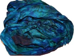 100g Sari SILK Ribbon Art Yarn Teal Tie Dye