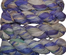 100g Sari SILK Ribbon Art Yarn Violet Multi
