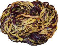 100g Sari SILK Ribbon Art Yarn Yellow Burgundy TieDye