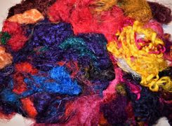 3oz Bright Sari Silk Fiber Waste Threads Multi Mixed for Mix Media, Felting, Spinning, Silk Paper, Weaving, Crochet Fiber, Textile Art Supply