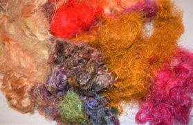 3oz Brown Yellow Sari Silk Fiber Waste Threads Multi Mixed for Mix Media, Felting, Spinning, Silk Paper, Weaving, Crochet Fiber, Textile Art Supply