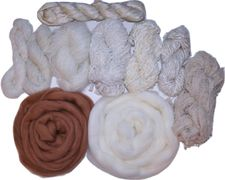 400gr Weaving Fiber Yarn Pack 1, Wool Roving, Weaving Supplies, Yarn and Sari silk Ribbon Variety Yarn Kit Pastels