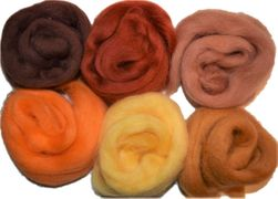 12 inch Long 6 Qty Boogie 100% Merino Wool Roving Fiber Brown Orange