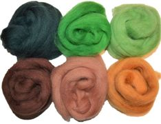 12 inch Long 6 Qty Boogie 100% Merino Wool Roving Fiber Green Brown