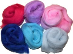 12 inch Long 6 Qty Boogie 100% Merino Wool Roving Fiber Pink Blue