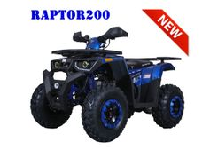 Jet Moto Raptor 200 4 Speed Manual Full Size ATV.  All new for 2019.  Upgraded suspension, color match rims and suspension components.