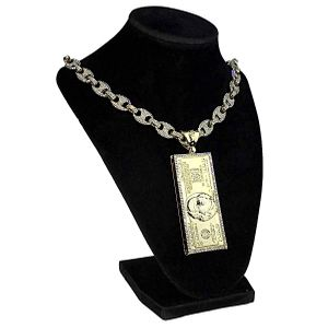 "Gold 100 Dollar Bill 18"" Mariner Chain"