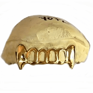 Real 10K Gold 4-Open Vampire Fang Custom Grillz