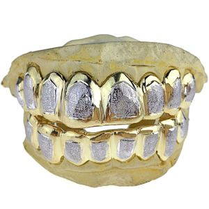 Real 10K Gold 2-Tone Diamond-Dust Custom Grillz