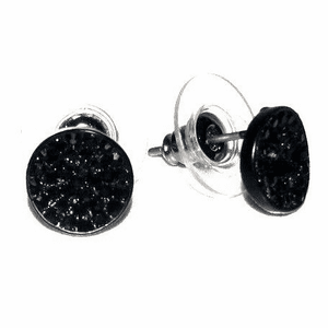 Black 10MM Round Circle Earrings