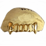 Real 14K Gold 4-Open Vampire Fang Custom Grillz