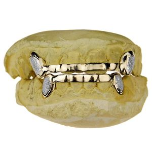 Real 14K Solid Gold K9 Diamond Dust Front Bar Grillz
