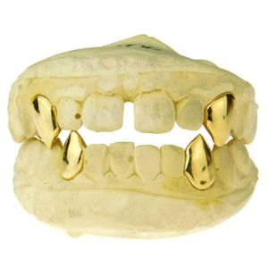 Real 14K Solid Gold 4 Custom Fangs w/Back Bars