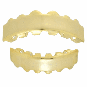 14k Gold Plated Bar Teeth Grillz Set