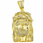 14k Gold Plated Jesus Head Pendant