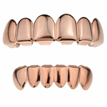 14K Rose Gold Plated Grillz Set