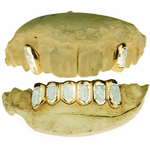 14k Gold 2-Tone Dust 2/6 Grillz
