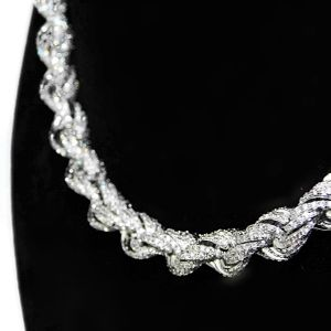White Gold Plated CZ Rope Chain