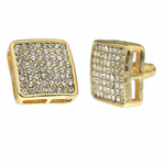 Round Square Gold Earrings 15MM