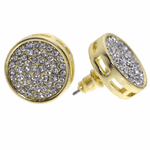 Round Pave Gold Earrings 15MM
