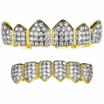 18k Gold Plated CZ 2-Tone Grillz Set