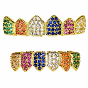 18K Gold Plate CZ Rainbow Grillz Set