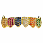 18K Gold Plated CZ Rainbow Low Fangs