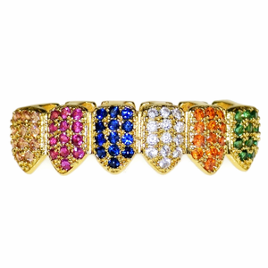 18K Gold Plated CZ Rainbow Low Grillz