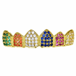 18K Gold Plated CZ Rainbow Top Grillz
