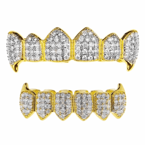 18k Gold Plated CZ 2-Tone Fangs Set