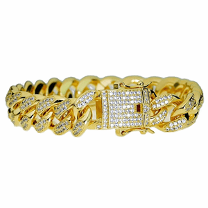 "18k Gold Plated CZ Bracelet 8""x12MM"