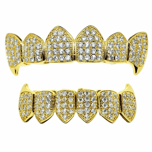 18K Gold Plated CZ Fang Grillz Set