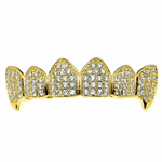 18K Gold Plated CZ Top Fang Grillz