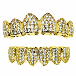 CZ Grillz Set 18K Gold Plated