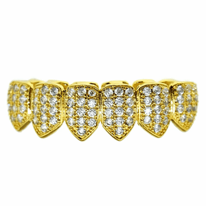 18K Gold Plated CZ Bottom Teeth Grillz