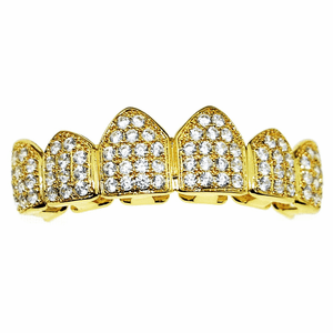 18K Gold Plated CZ Top Teeth Grillz