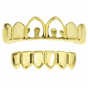 Gold 2 Open Face Teeth Grillz Set