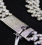 White Gold Plated CZ Zigzag Chain 20""