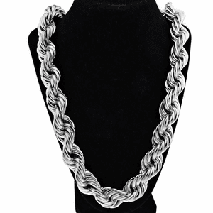"20MM x 36"" Silver Tone Rope Chain"