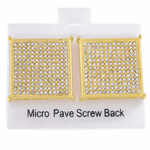 Square Gold 22MM Screw Earrings