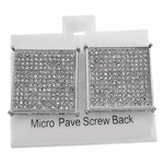 Square Silver Screw Earrings 22MM