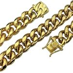 "Gold Plated 24"" x 14MM St. Steel Chain"