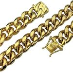 "Gold Plated 20"" x 14MM St. Steel Chain"