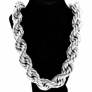 "25 mm x 30"" Silver Tone Rope Chain"