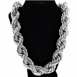 "25 MM x 36"" Silver Tone Rope Chain"