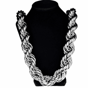 "30 mm 36"" Silver Tone Rope Chain"