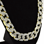 "30"" x 15MM Glitter Gold Hip Hop Chain"