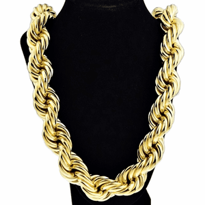 "25 mm x 36"" Gold Plated  Rope Chain"